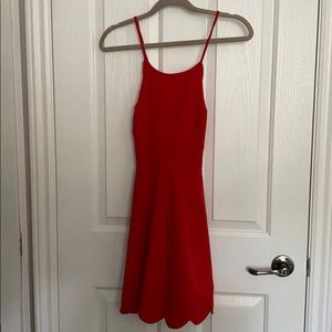Red lace up skater dress